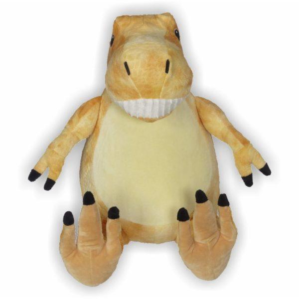 T-Rex mit orange-gelben Fell und breitem Grinsen