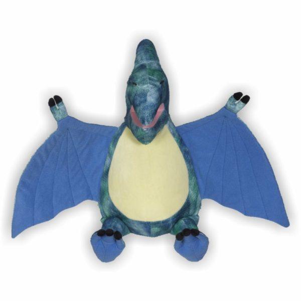 Flugsaurier mit türkis-blauem Fell und großen Flügeln