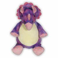Mit ihrem rosa-lila geschecktem Fell und ihrer rosa Krone ist der Triceratops Daria die Königin der prähistorischen Ära