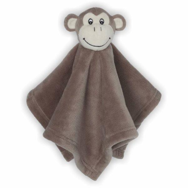Sehr weiches quadratisches Schnuffeltuch mit Affenkopf