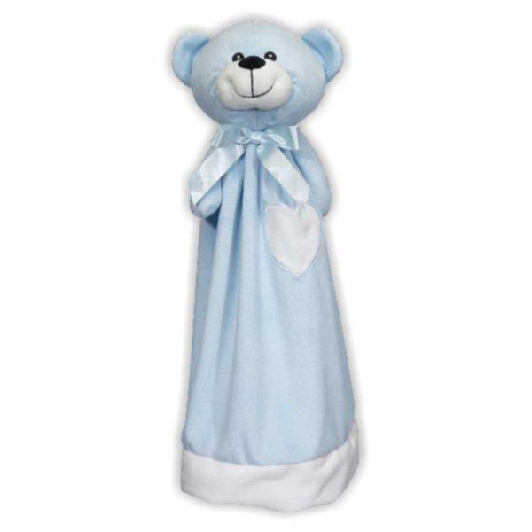 Großes, blaues Bären-Schnuffeltuch, das auch als Handpuppe verwendet werden kann