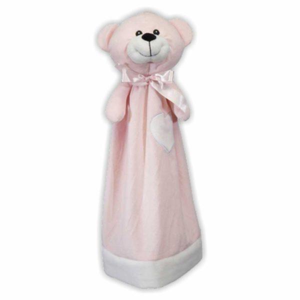 Großes, rosafarbenes Bären-Schnuffeltuch, das auch als Handpuppe verwendet werden kann