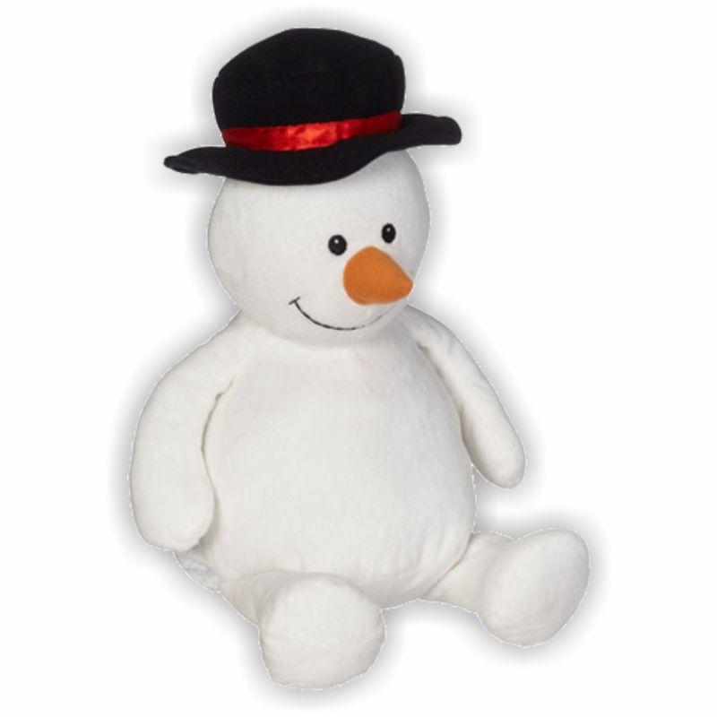 Süßer Schneemann mit kustiger Karottennase und Hut